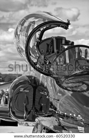 military jet fighter cockpit canopy black and white - stock photo