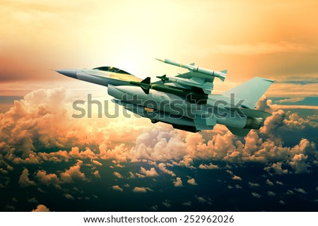 military jet plane with missile weapon flying against sunset sky use for world battle and political conflict in middle east - stock photo