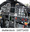 Military jetfighter cockpit control panel - stock photo