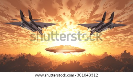 Military Jets Pursue UFO - stock photo