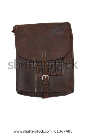 Military leather map-case of the german officer isolated on white - stock photo
