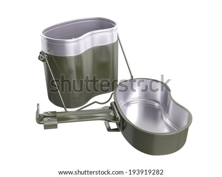 Military mess kit on white background. 3D image