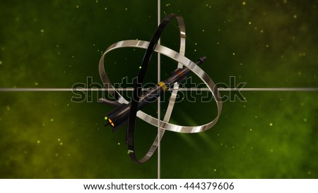 Military Missile with Metallic Sight Target. 3D Illustration. - stock photo