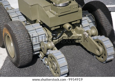 Military or police robot used to safely move or detonate bombs and mines - stock photo