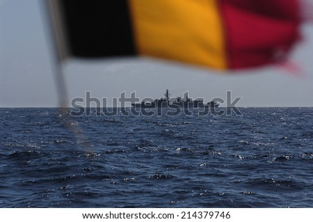 military patrol ship on the high seas against pirates and terrorists - stock photo
