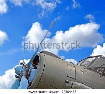 Military plane, old biplane close up - stock photo