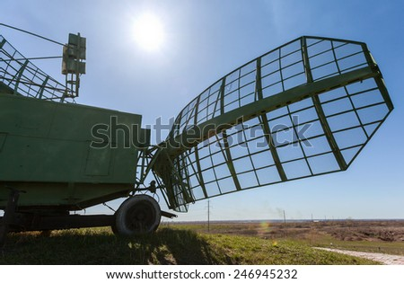 Military russian radar station against blue sky - stock photo