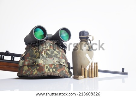 military set with helmet, binoculars,canteen  - stock photo