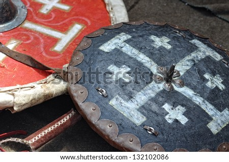 military shields - stock photo