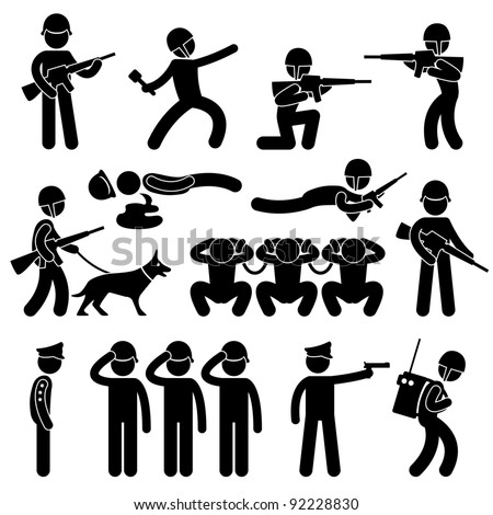 Military Soldier Patrol Dog War Prisoner General Icon Symbol Sign Pictogram - stock photo