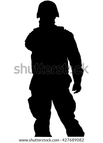 Military soldier silhouette over a white background - stock photo