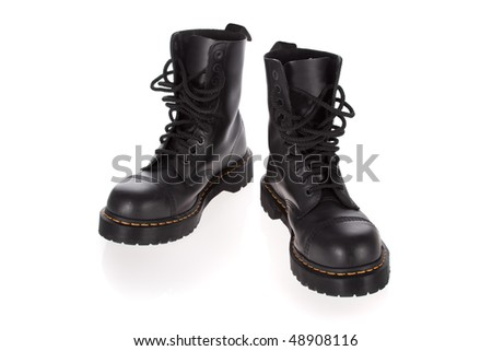Military style black boots isolated on white background - stock photo