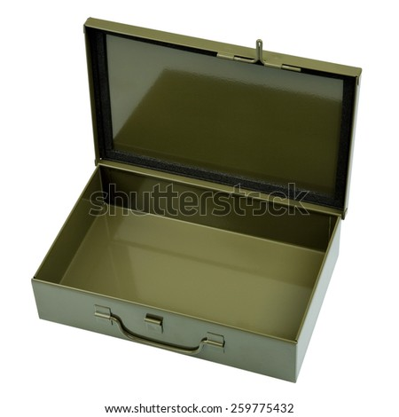 Military style open crate first aid kit - stock photo