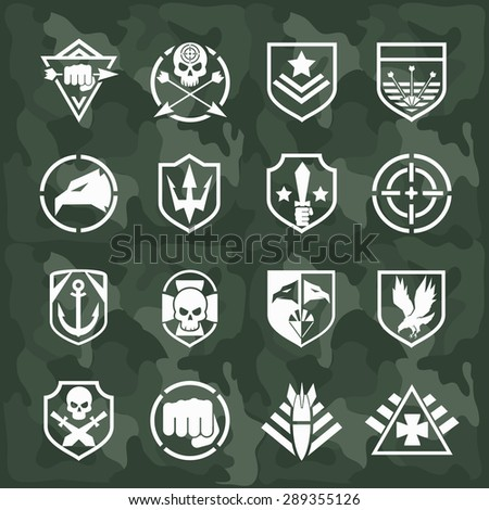 Military symbol icons set. Fist and sword, eagle and skull, cross arrow, rocket and anchor - stock photo
