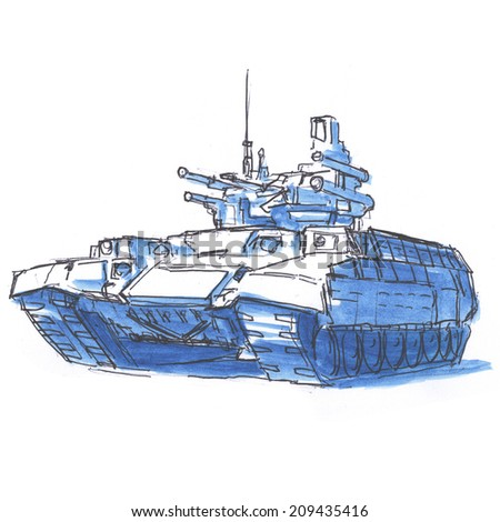Military tank sketch drawing isolated on white background - stock photo