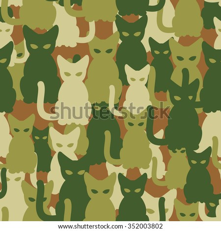 Military texture of cats. Army seamless pattern from pets. Protective camouflage for soldiers of animals.