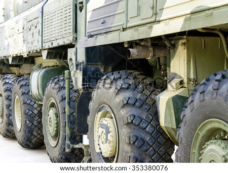 Military tractor wheels - stock photo