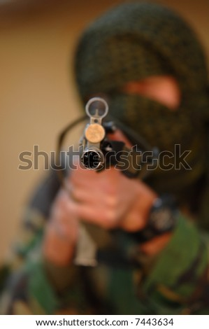Military training combat - weapon close up - stock photo