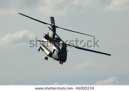 Military transport 2 rotor helicopter CH-47 Chinook - stock photo