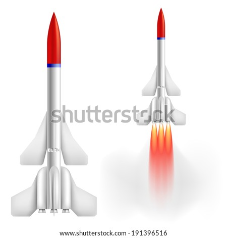 Military two-stage rocket - stock photo