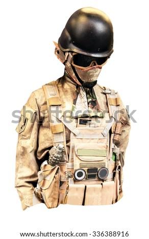 military uniform isolated on white background - stock photo