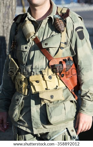 military US army in wwii / american soldier in reenacting ww2 - stock photo