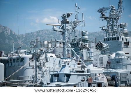 Military war ships - stock photo