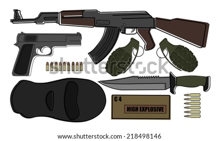 Military weapon pack - terrorism: AK-47, pistol, grenades, knife, bullets, mask, explosive  - stock photo
