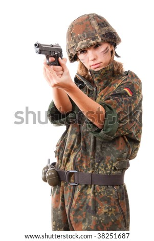 Military woman aiming isolated over white background