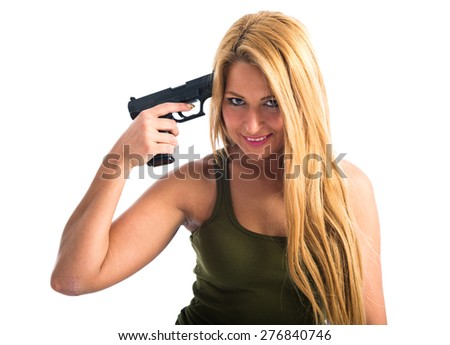 military woman committing suicide - stock photo