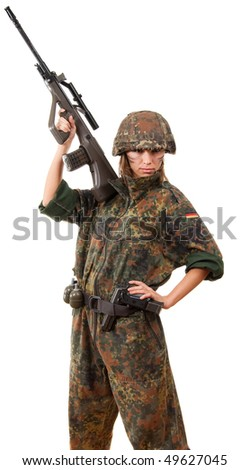 Military woman with  gun isolated over white background - stock photo