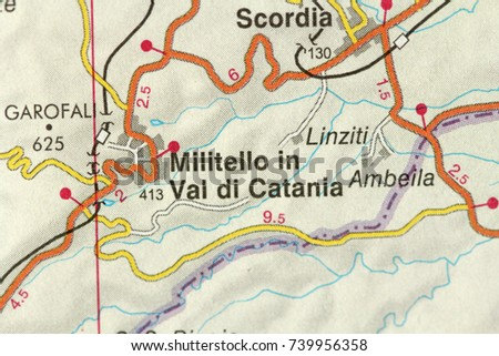 Militello Val Di Catania Map Islands Stock Photo Royalty Free