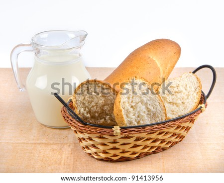 milk and bread in basket on tablecloth