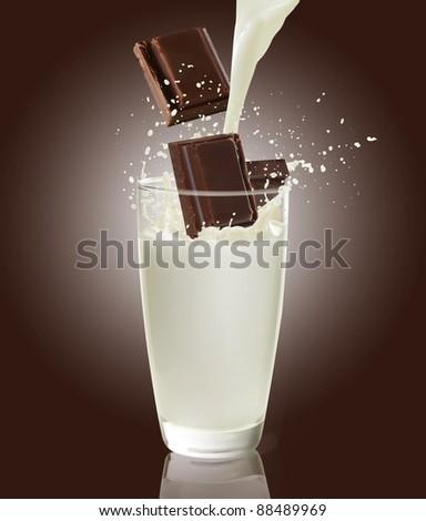 milk and chocolate - stock photo