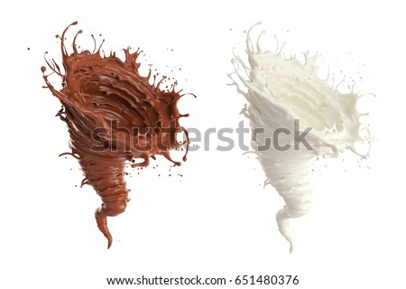 milk and Chocolate  spinning into a storm shape, The concept represents the power derived from the value of drinking, 3d illustration