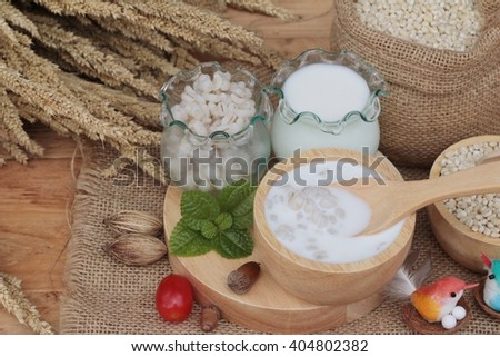Milk and cooked barley for health delicious - stock photo