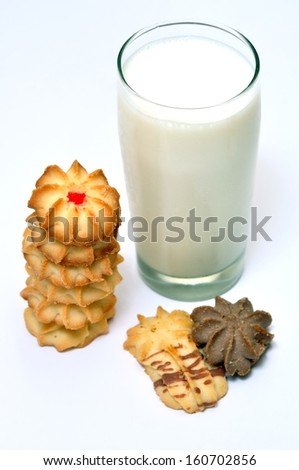 Milk and cookies isolated on a white background - stock photo