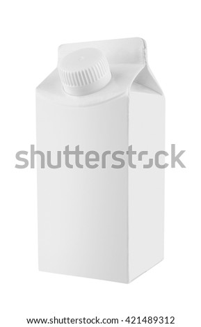 Milk and juice white carton package, isolated on white background - stock photo