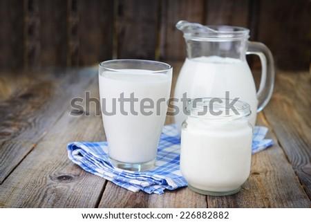 Milk and yoghurt - stock photo