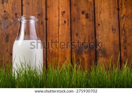 Milk bottle - stock photo