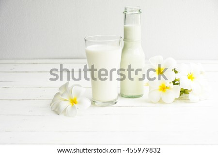 Milk bottle and milk glass on white wooden background.Drink for health Hi-calcium.