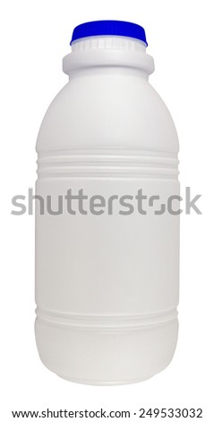 Milk bottle isolated on white background. Clipping path included.