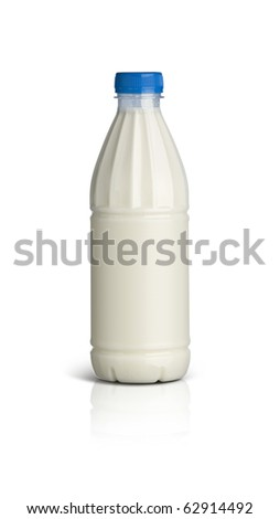 Milk bottle on white background with path - stock photo