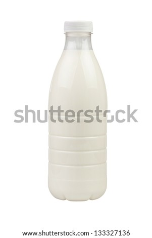 milk bottle plastic on white background - stock photo