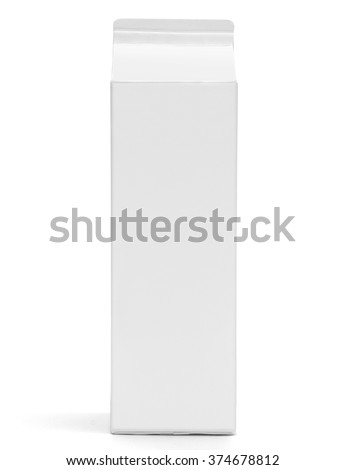 Milk box front view mockup. White clear empty box with gable for drinks. Isolated on white with clipping path. Front view. Without lid. - stock photo