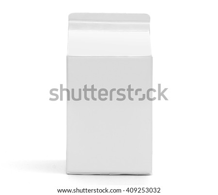 Milk box front view mockup. White clear empty half liter box with lid for drinks, with original shadow. Isolated on white without clipping path. - stock photo