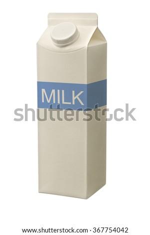 milk carton box isolated on white. - stock photo
