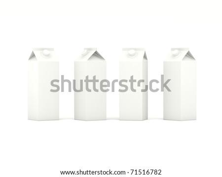 Milk cartons isolated on white background - stock photo
