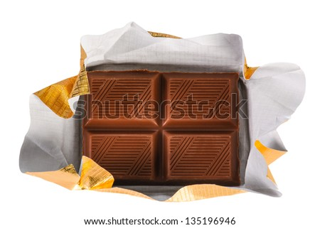 Milk Chocolate bar in foil wrapper - stock photo