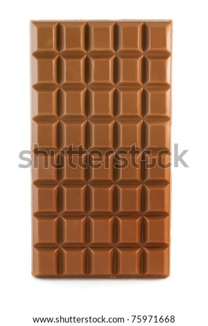 Milk chocolate bar isolated over white - stock photo